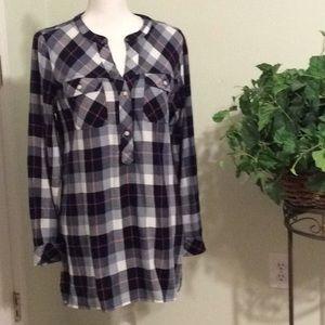 ❤️NWT GAP black/gray flannel L/S tunic top